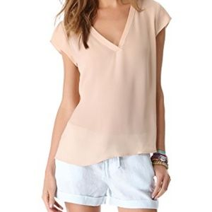 JOIE Rubina Silk V-neck Top in Nude Size Small